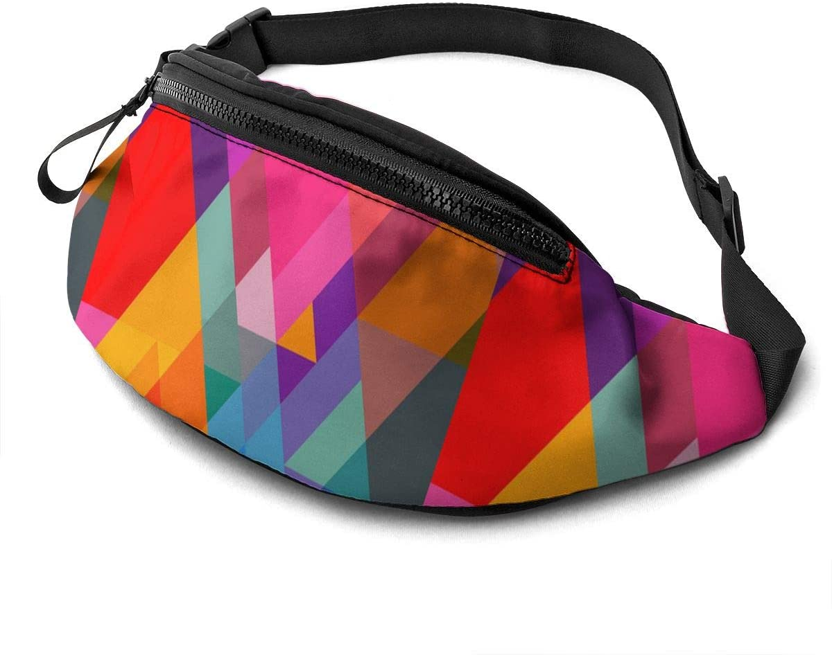 Colorful Triangle Fanny Pack for Men Women Waist Pack Bag with Headphone Jack and Zipper Pockets Adjustable Straps