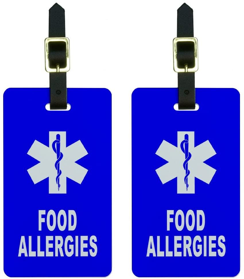 Food Allergies - Medical Emergency - Star of Life Luggage Tags ID Set of 2