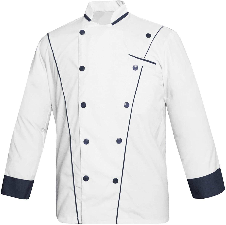 White vend VN-07 Men's White Chef Jacket Multi Colour in Pipings Chef Coat