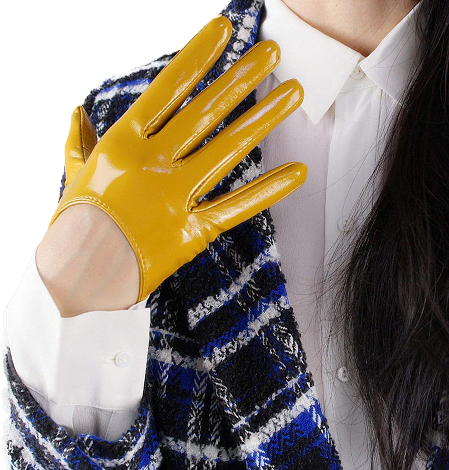 DooWay Women Fashion Latex Short Gloves Shine Leather Faux Patent PU Wet Look 5