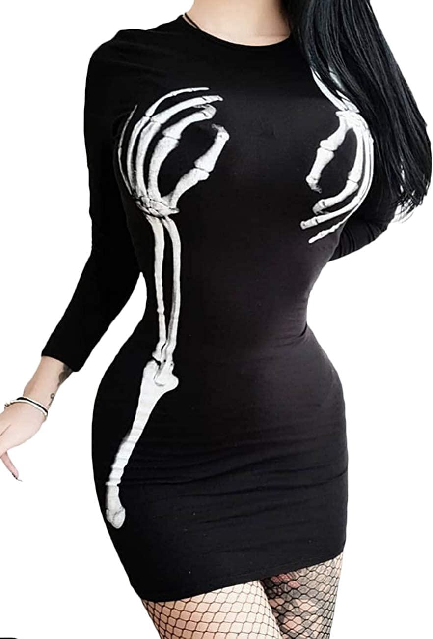 SEMATOMALA Women's Skeleton Hand Bone Print Mini Dress Casual Long Sleeve Black Sexy Bodycon Scary Halloween Cosplay Costume