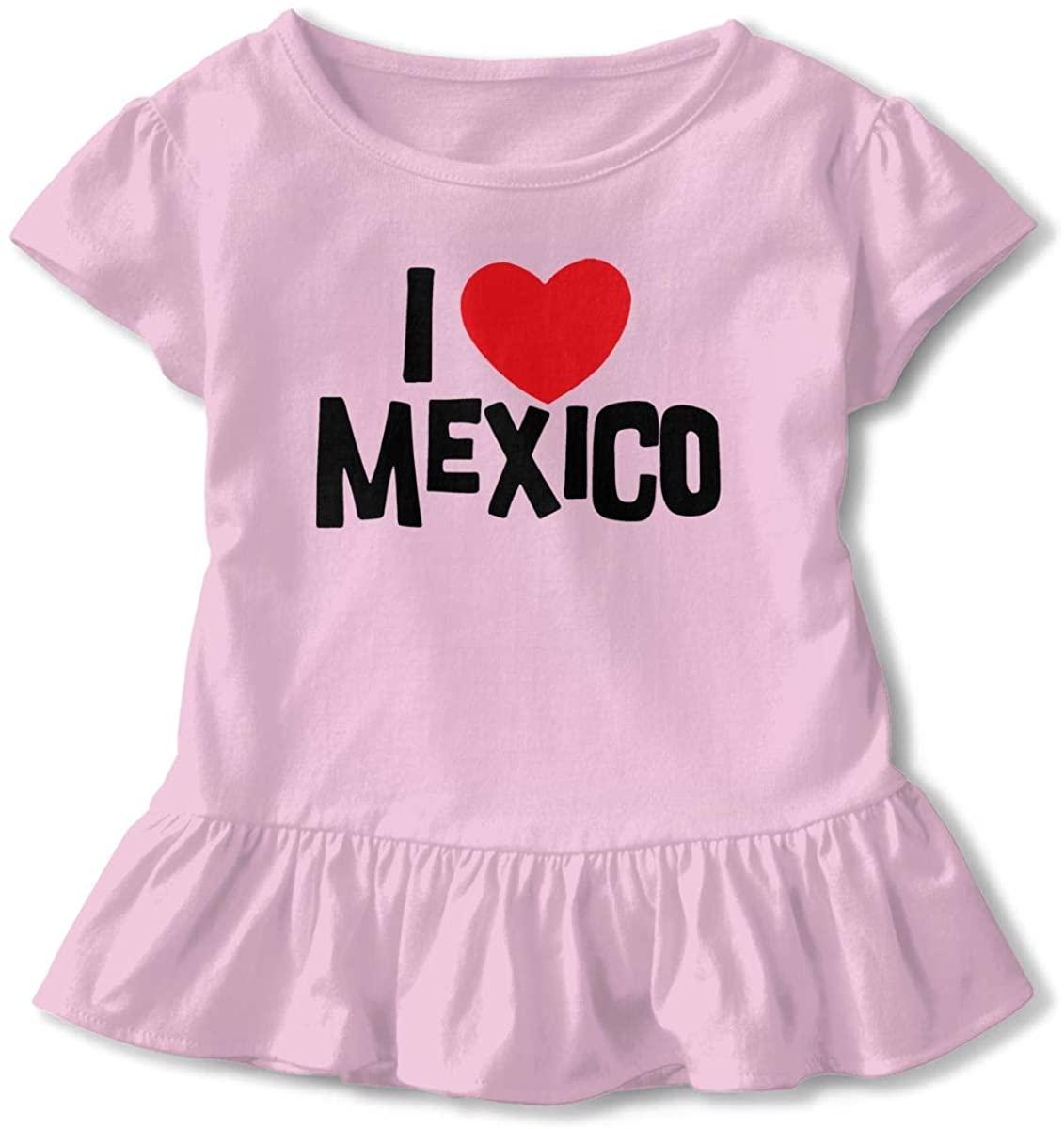 I Love Mexico Little Girls Cotton Casual Print Short Sleeve Skirt Dresses 2-6T White