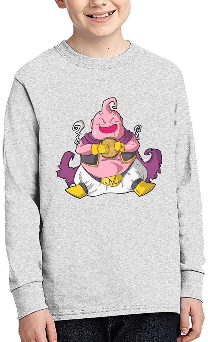 Boy Girl Teen Long Sleeve T-Shirt Dragon Ball Majin Buu Exquisite Fashion Creation Gray