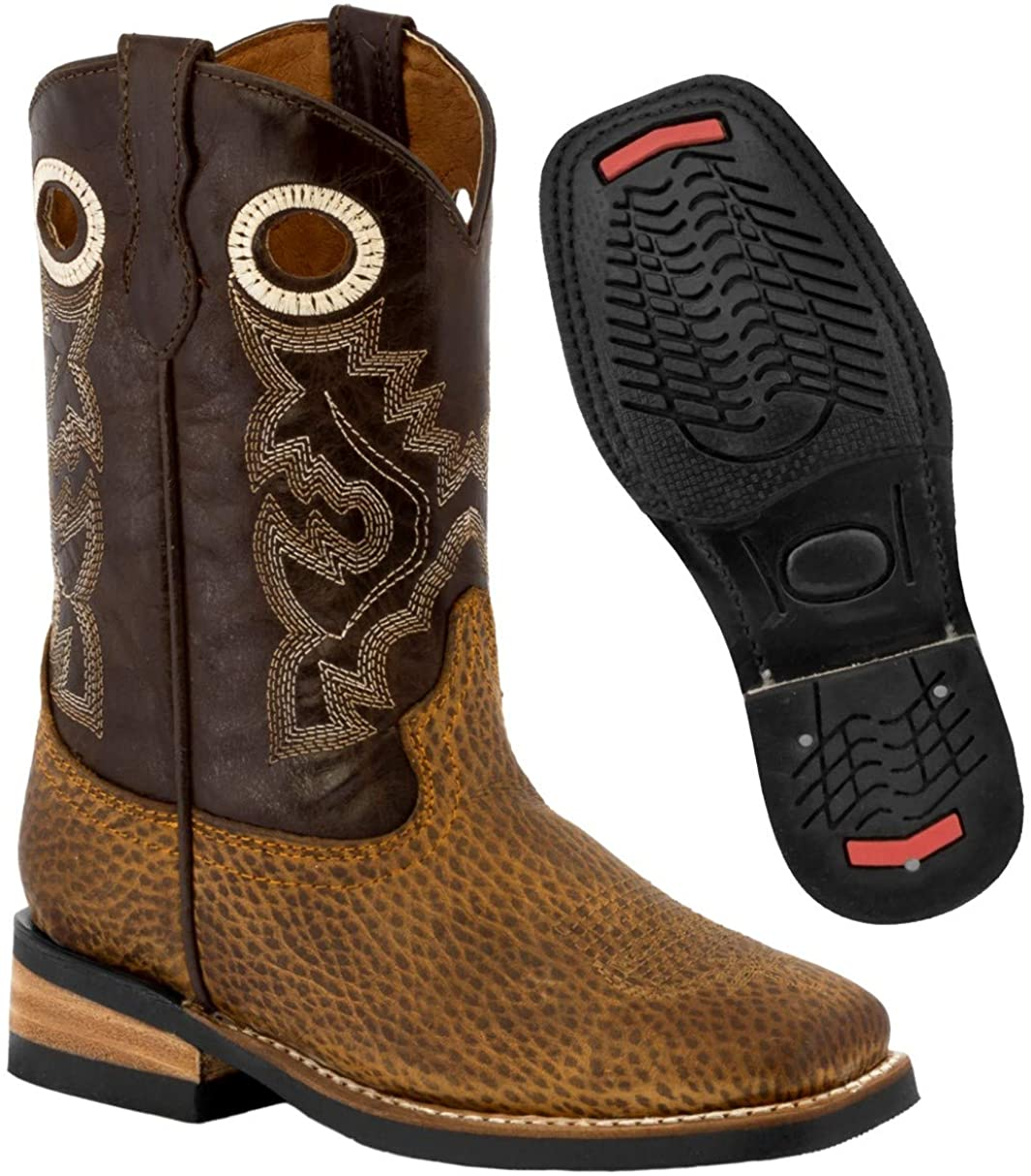 Kids Rustic Brown Western Cowboy Boots Pull On Leather Square Toe 11 Toddler