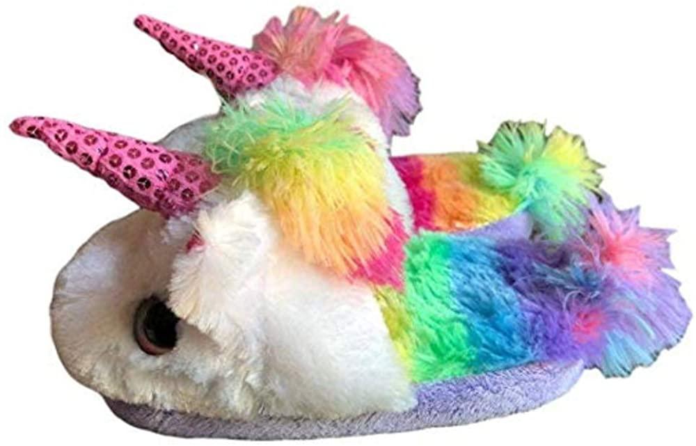 Girls Unicorn Bedroom Slipper Rainbow Slide on Shoe Sequins