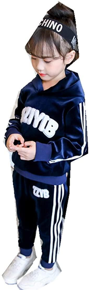 MV Girls Suit Autumn Childrens Gold Velvet Sports Korean Sweater Casual Two-Piece