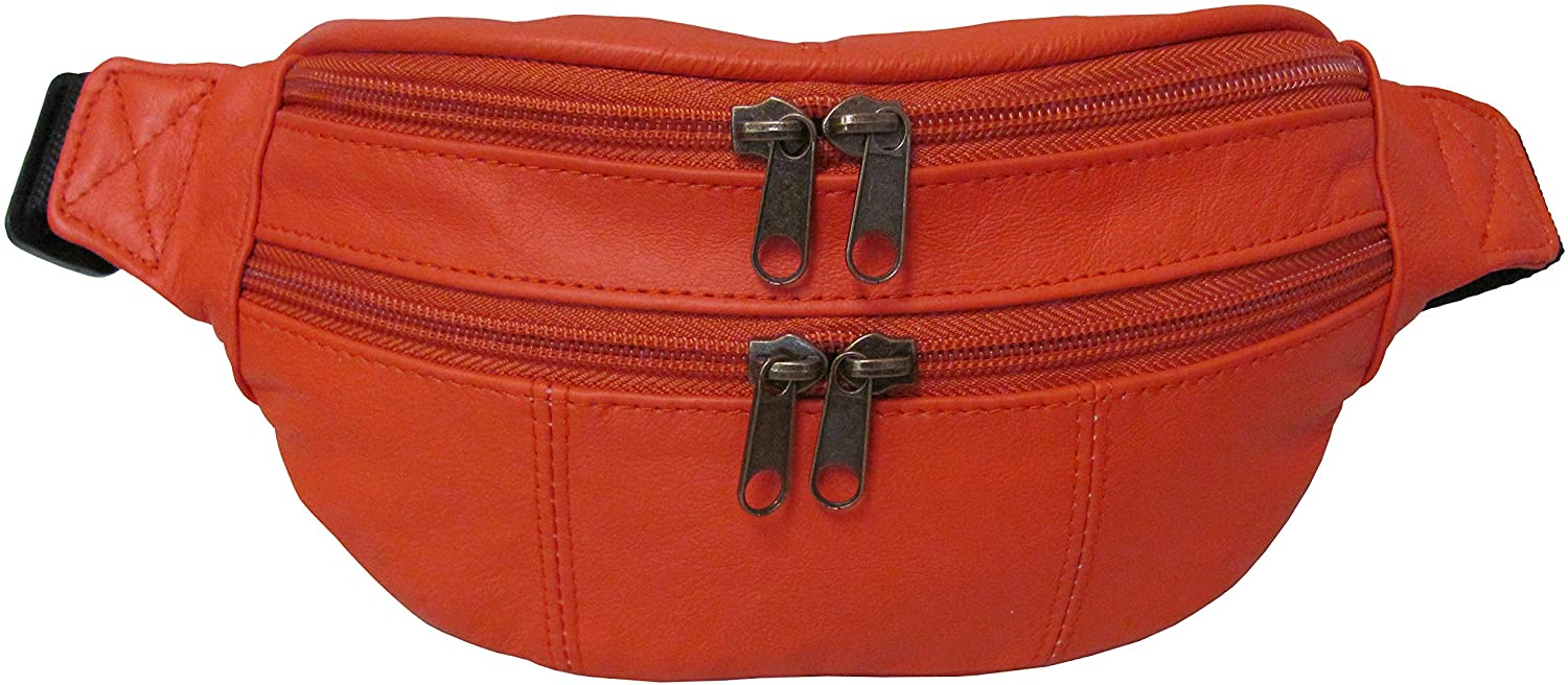 Assorted Leather Fanny Packs (#7311-1) (Orange)