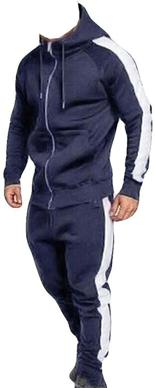 Men's Tracksuit Set Full Zip HoodedCardigan Jogging Sportwear Suit Plus Size