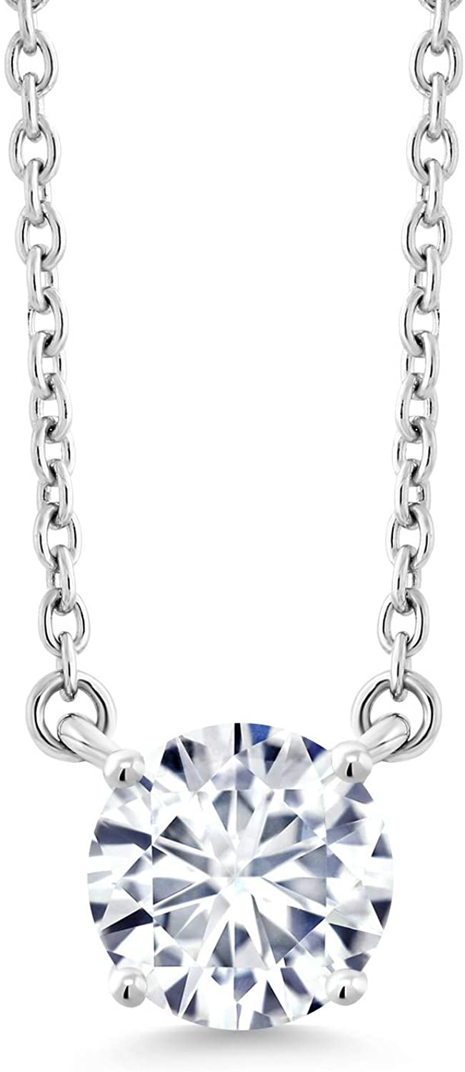10K White Gold Solitaire Pendant Necklace Set Round Forever Brilliant Near Colorless (GHI) 1.20 ct (DEW) Created Moissanite from Charles & Colvard
