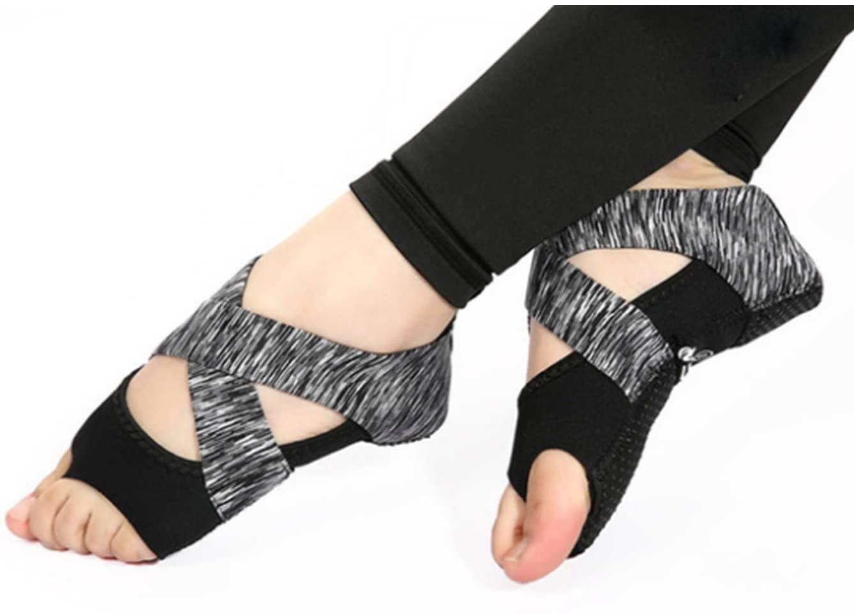 Micrkrowen Bandage Aerial Yoga Socks Non-Slip Fitness Shoes (Black Gray, L)