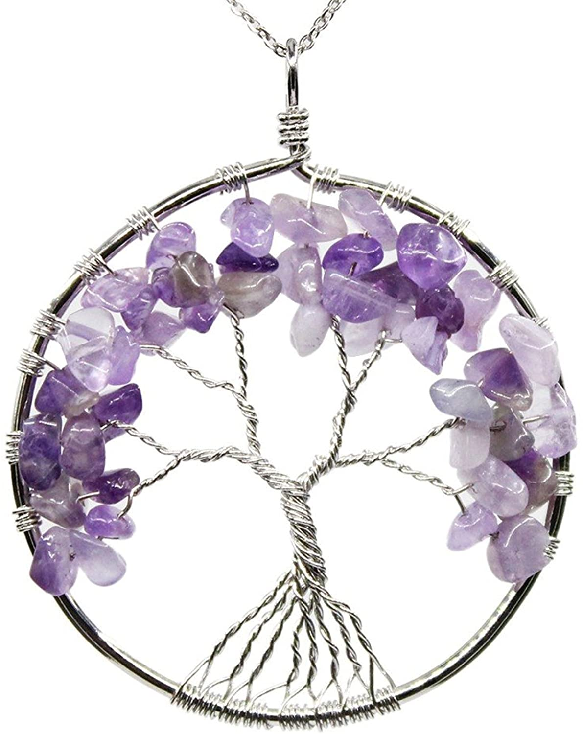 Luvalti Tree of Life - Gemstone Chakra Jewelry Purple Stone Silver Color Chain Necklace