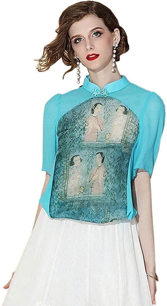 HangErFeng Shirts Chinese Element Printed Tang Dress Collar