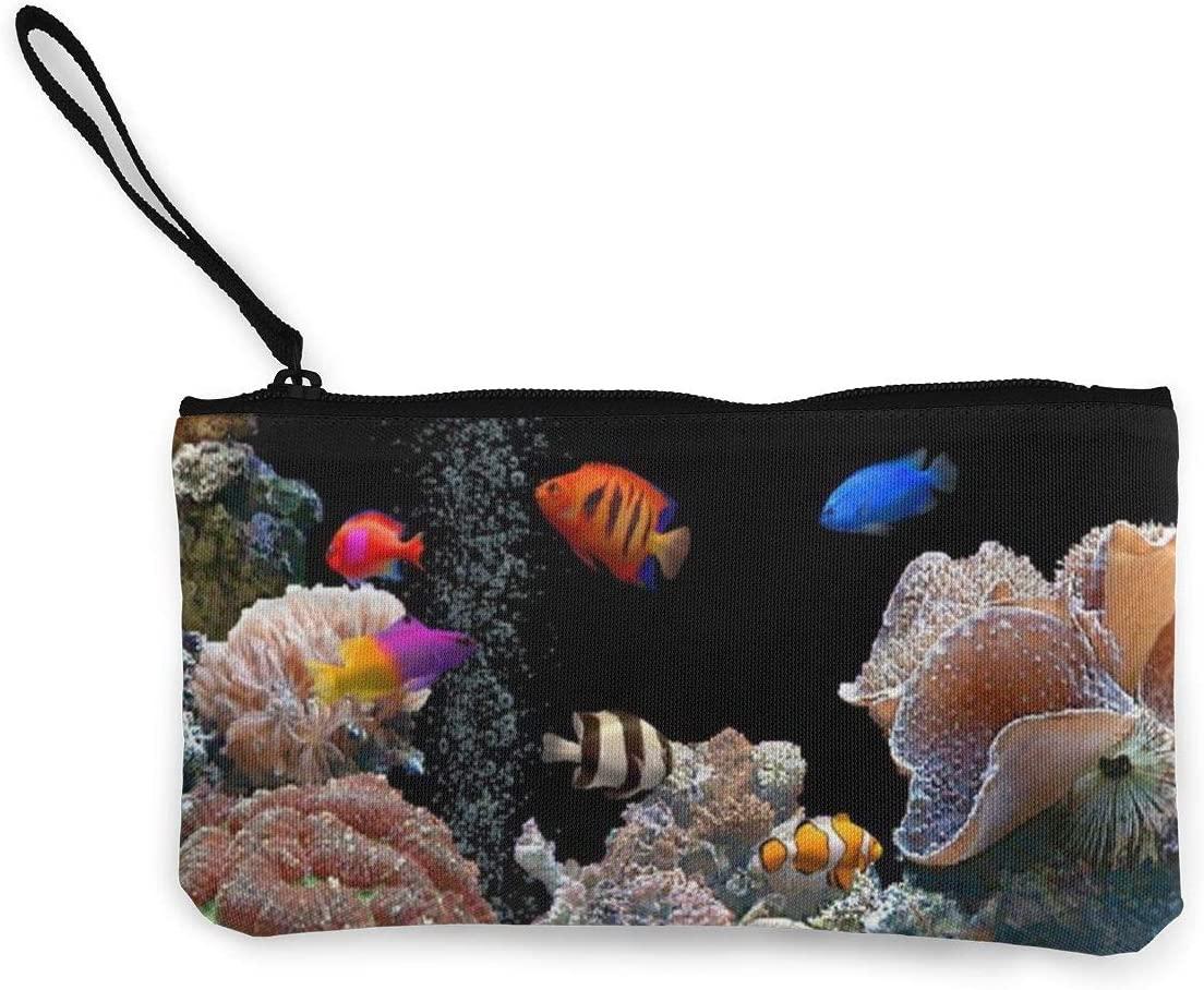 Coin Purse HD Tropical Fish Mens Zip Canvas Wallets TravelGreat Bag