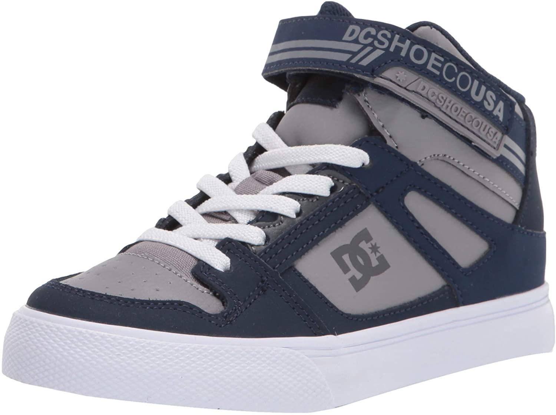 DC Boys' Pure HIGH-TOP EV Skate Shoe, Navy/Grey, 2.5 M US