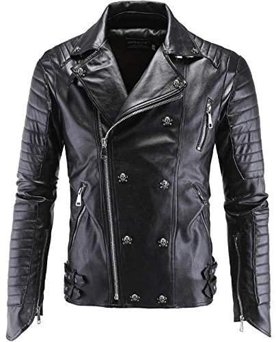 Nomber Punk Leather Jacket Men Skull Motorcycle Leather Jacket Multi Zippers Slim Fit Men Leather Jacket Clothing