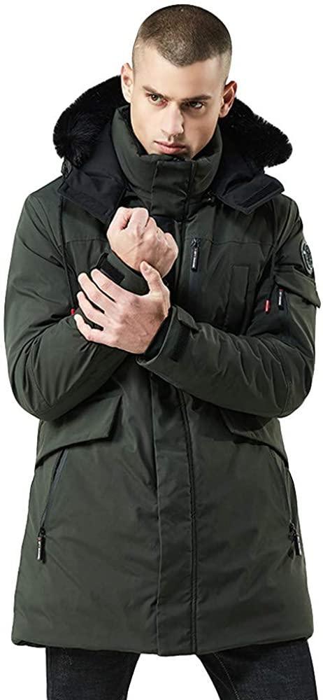 Hattfart Men Winter Thickened Faux Fur Hooded Zipper Cotton Padded Parka Outerwear Coats