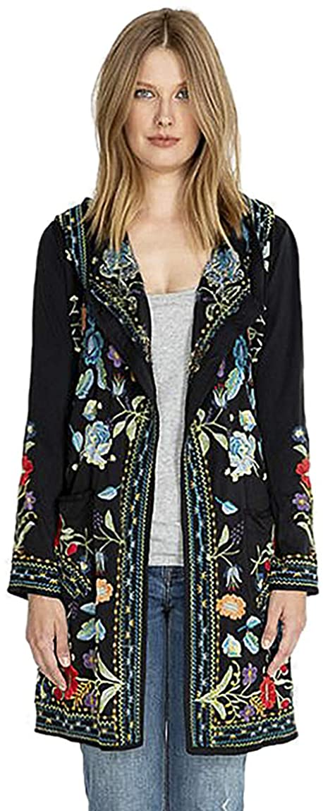Johnny Was Zia Hooded Duster Jacket Black Embroidered Flower New Large