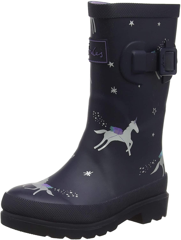 Joules Kids Printed Welly Rain Boot Navy Unicorns 3 Little Kid