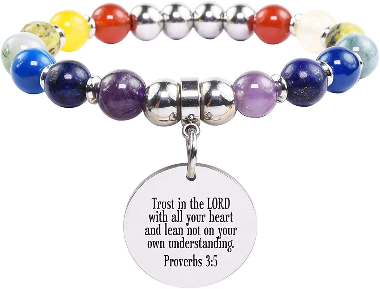 Pink Box Genuine Chakra Scripture Bracelet - Proverbs 3:5 - Silver -