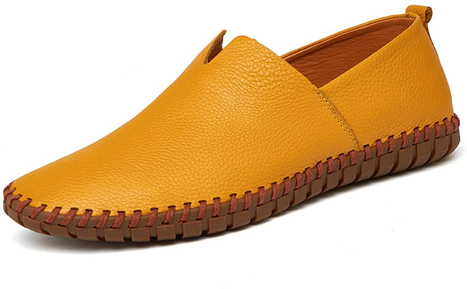 Men Leather Loafers Slip On Driving Shoes Large Blue Handmade Leather Shoes Men,Normal Yellow,6.5