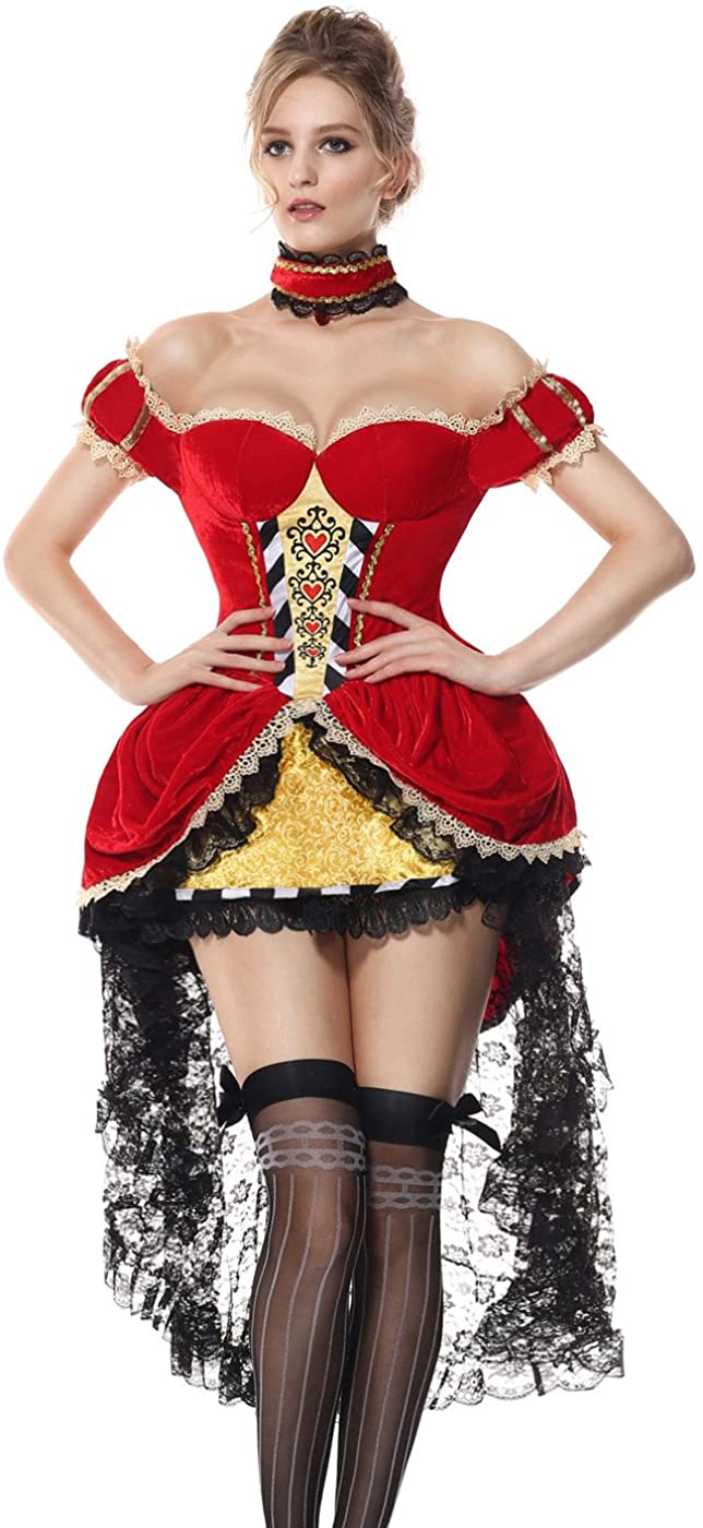 Luruiya Women's Deluxe Queen of Hearts Cosplay Halloween Velvet Dress Costume