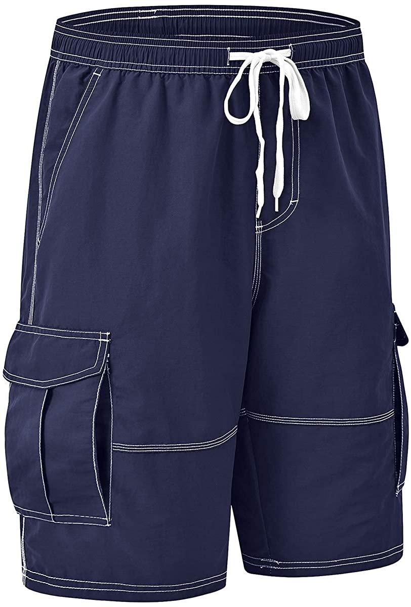 AIRIKE Men's Swim Trunks Quick Dry Swimwear Broad Shorts Drawstring with Pockets Beachwear Nylon Boardshorts Swimsuit