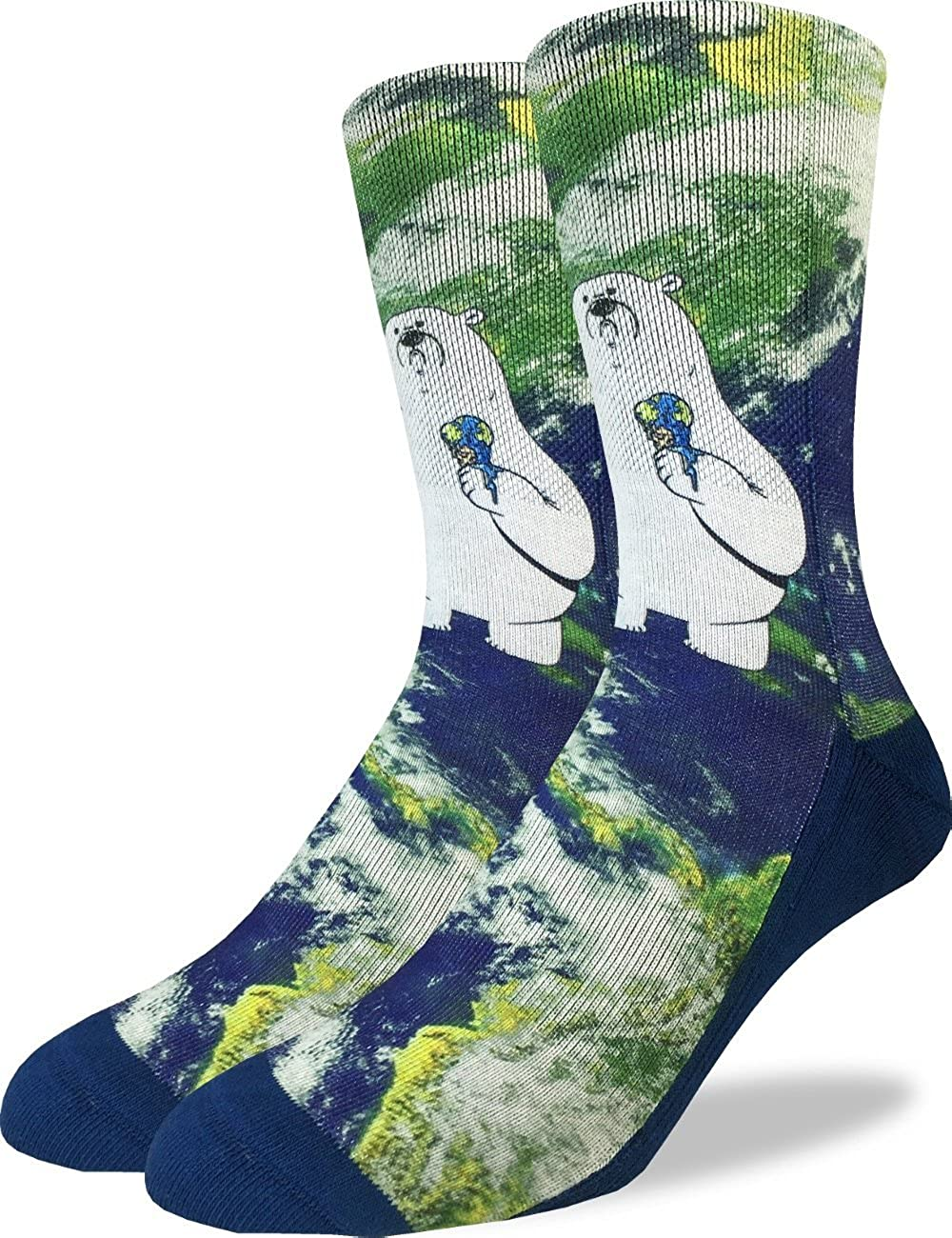 Good Luck Sock Men's Global Warming Polar Bear Crew Socks - Adult Shoe Size 8-13