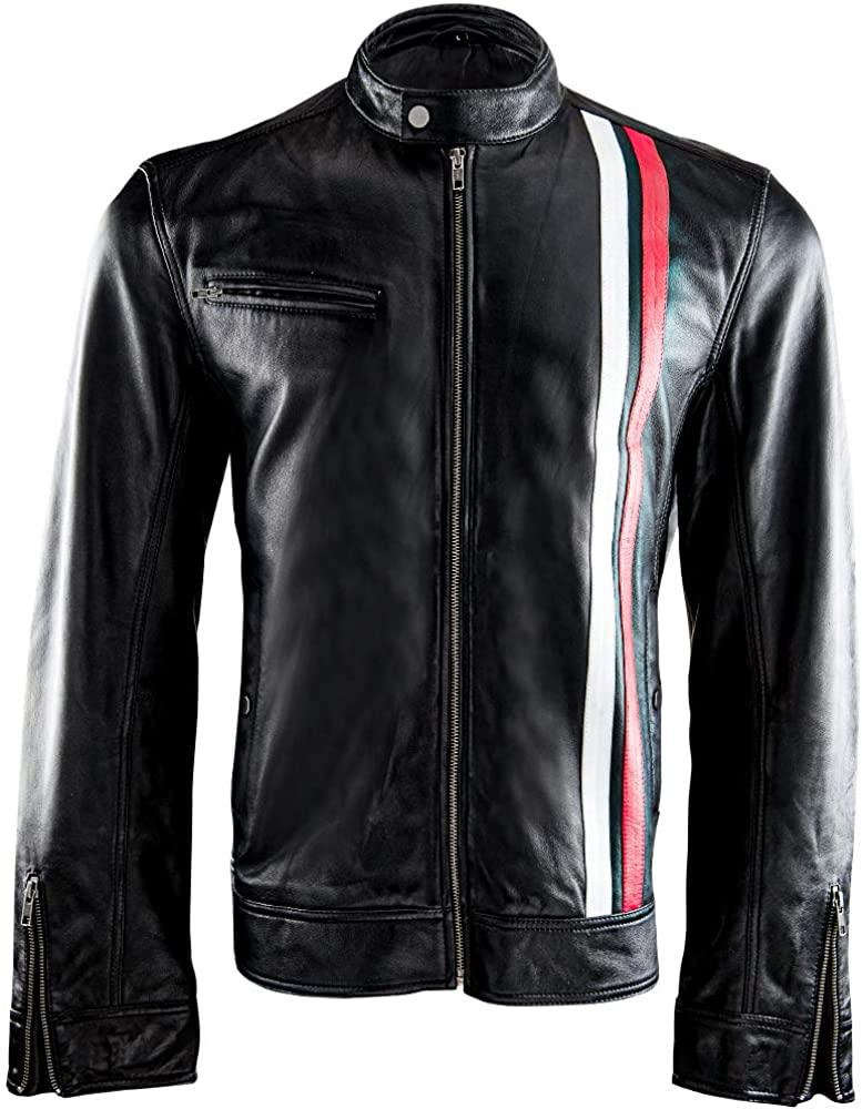 Men's Victor Cafe Racer, Black Leather Jacket, Red White Stripes, Real Sheepskin