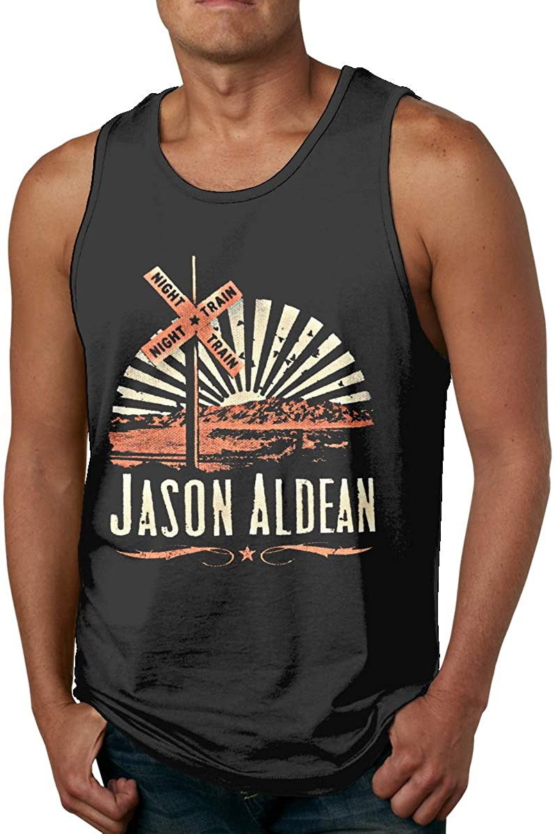 DamaYong Jason Aldean Logos Mens Tank Top Shirt Crew Neck Sleeveless Summer Tee Vest Tops