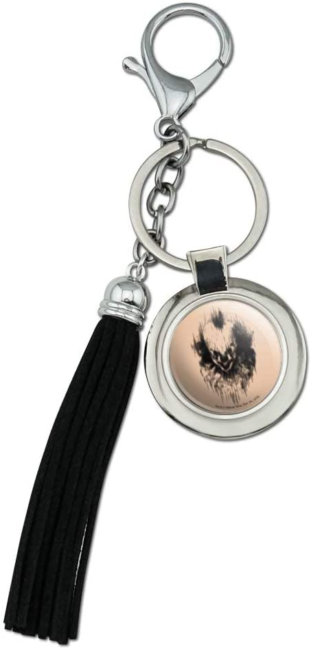 IT: Chapter 2 Pennywise Lines Chrome Plated Metal Round Leather Tassel Keychain