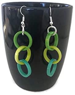 Tagua Earrings in Green, Vegetable Ivory Dangle Earrings TAG270, Organic Earrings, Tagua Nut Earrings in Lime, Teal, Green