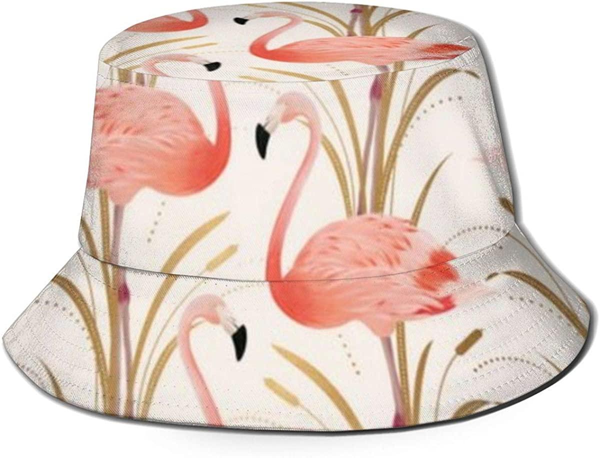 Unisex Cute Print Bucket Hat Summer Fisherman Cap Pink Flamingo Pink Flamingo Clipart Style