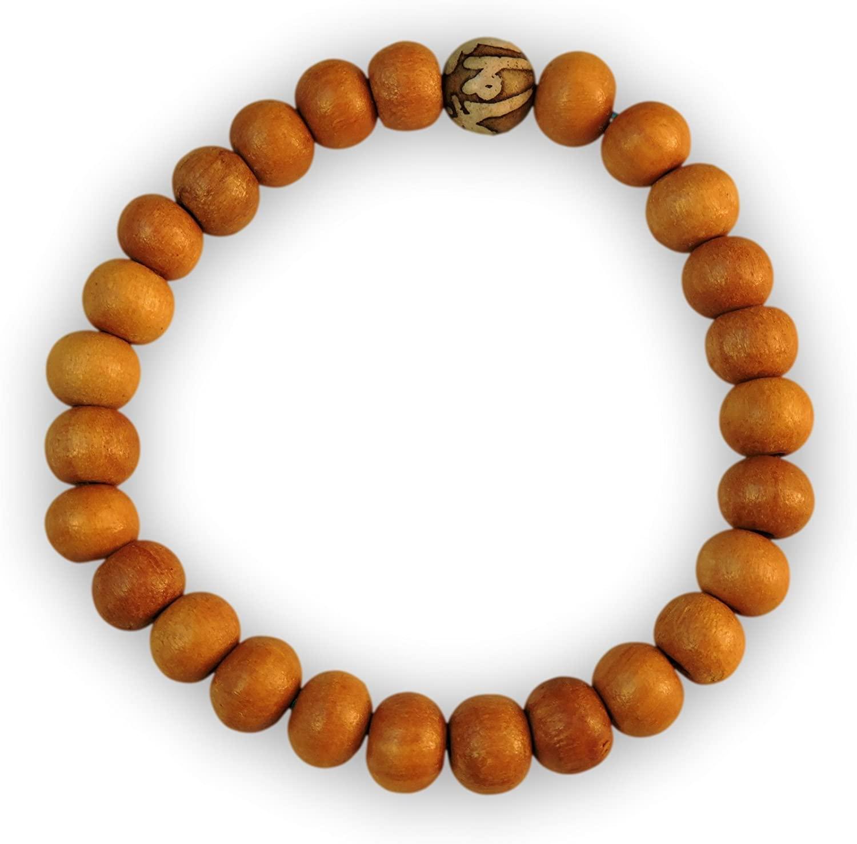 Chakra Crafts Healing Wood Bead Wrist Mala Yoga Bracelet with Stretchy Cord (Handmade) WB1