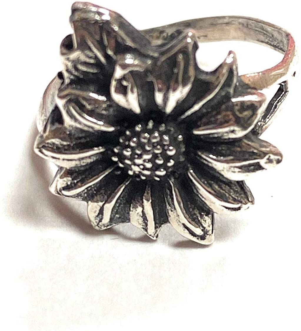 Zoe and Piper Sunflower Sterling Silver Ring