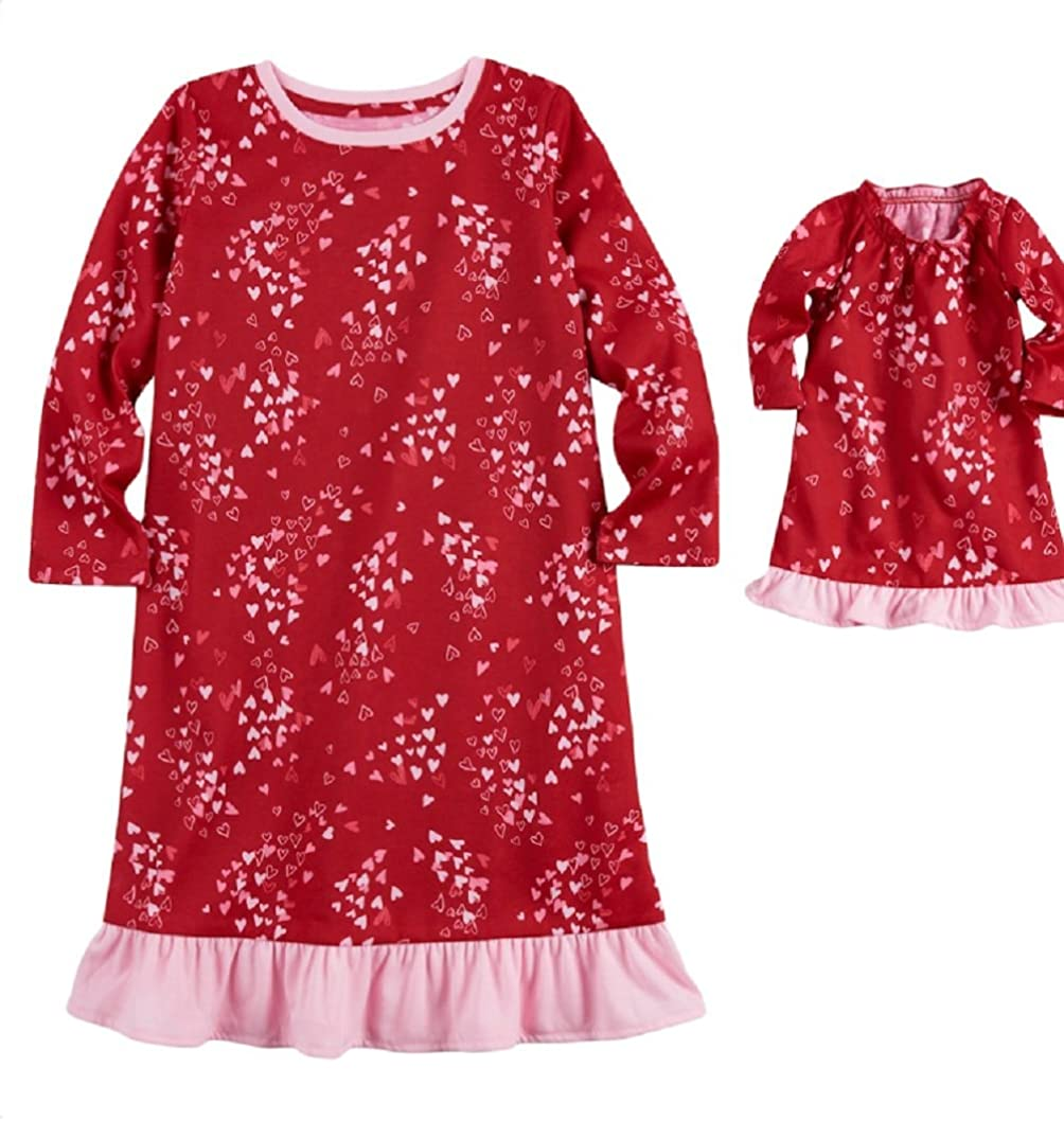 Jammies For Your Families Toddler Girl Hearts Nightgown & Doll Gown Pajama Set