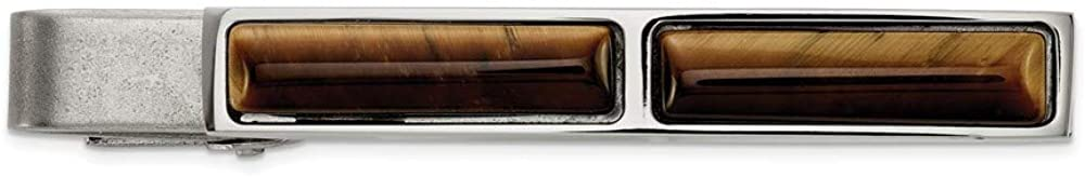 Solid Stainless Steel Men's Brushed and Tiger's Eye Tie Bar - 55mm x 6mm