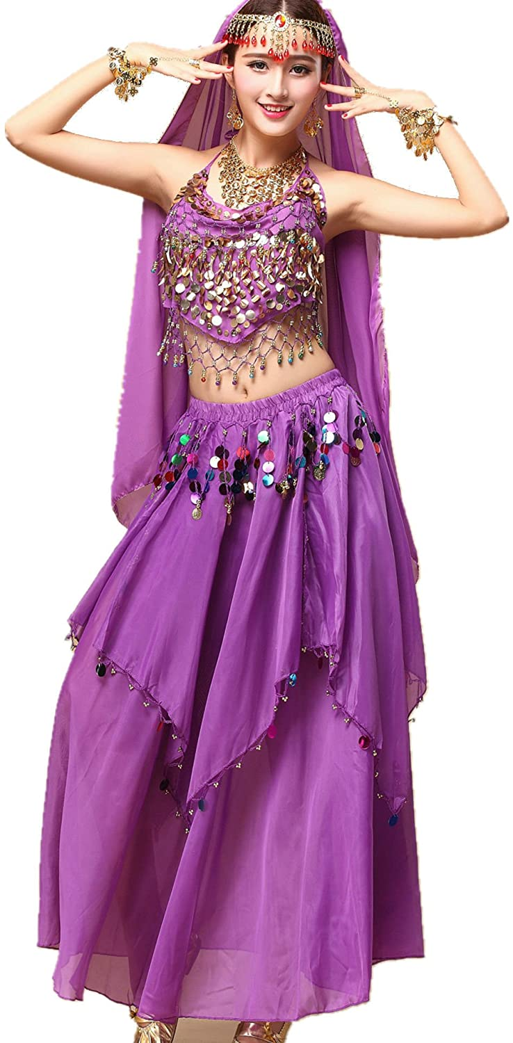 YYCRAFT Women Halloween Halter Top Skirt Costume Set Belly Dance Outfit 8 Colors