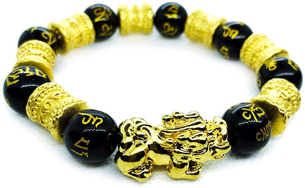 Generies 12mm Hand Carved Mantra Stone Feng Shui Elastic Bracelet Pi Xiu Bracelet Lucky Wealthy Amulet Brecelet