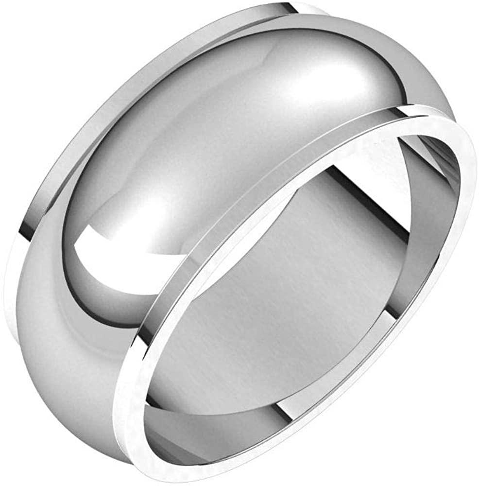 Solid Platinum 8mm Half Round Edge Wedding Band Size 9