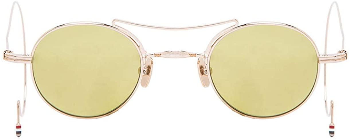 THOM BROWNE TB-902-A-GLD-40-Z Sunglasses 12K Gold w/Dirty Yellow-Gold Flash-AR 40mm