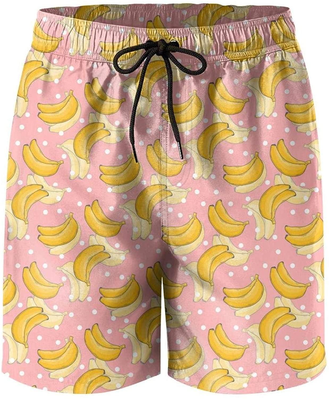Ripe Banana Print Art Mens Quick Dry Swim Trunks Gift Outdoor Mesh Lining Swimwear Shorts with Pocket