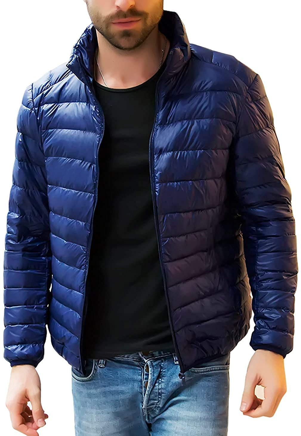 Xudcufyhu Mens Casual Full Zipper Packable Ultra Light Weight Puffer Down Jacket