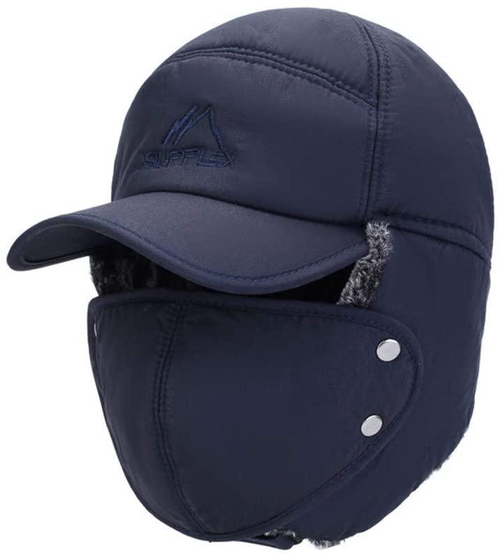 Bin Zhang Men's Hats Korean Wild Leisure Thick Warm Winter Wind Masks Ear Cap Lei Feng Cap (Color : Blue, Size : One Size)
