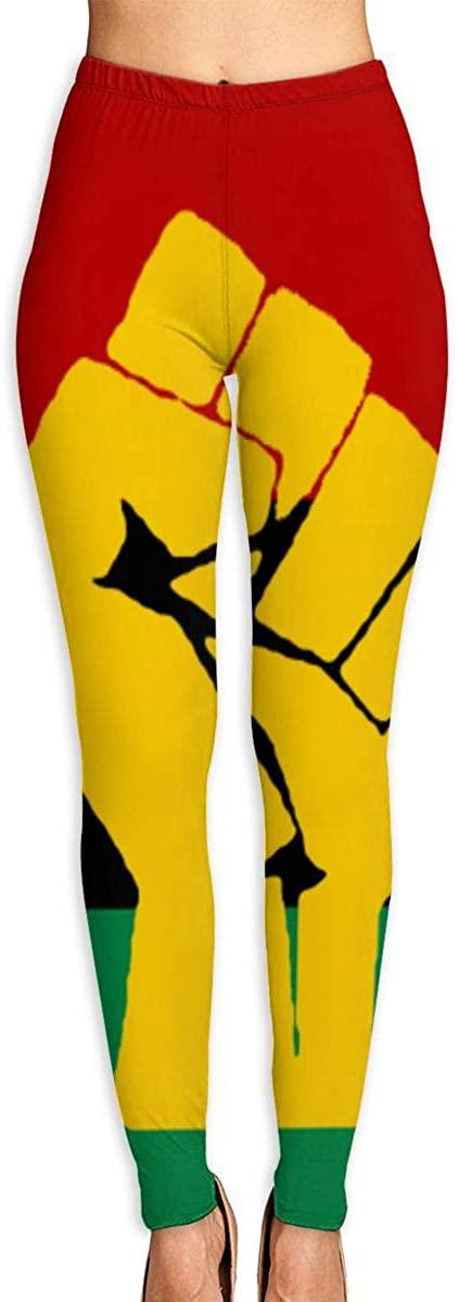 NOT Black Power Pan African Flag Women's 3D Digital Print High Wait Leggings Yoga Workout Pants