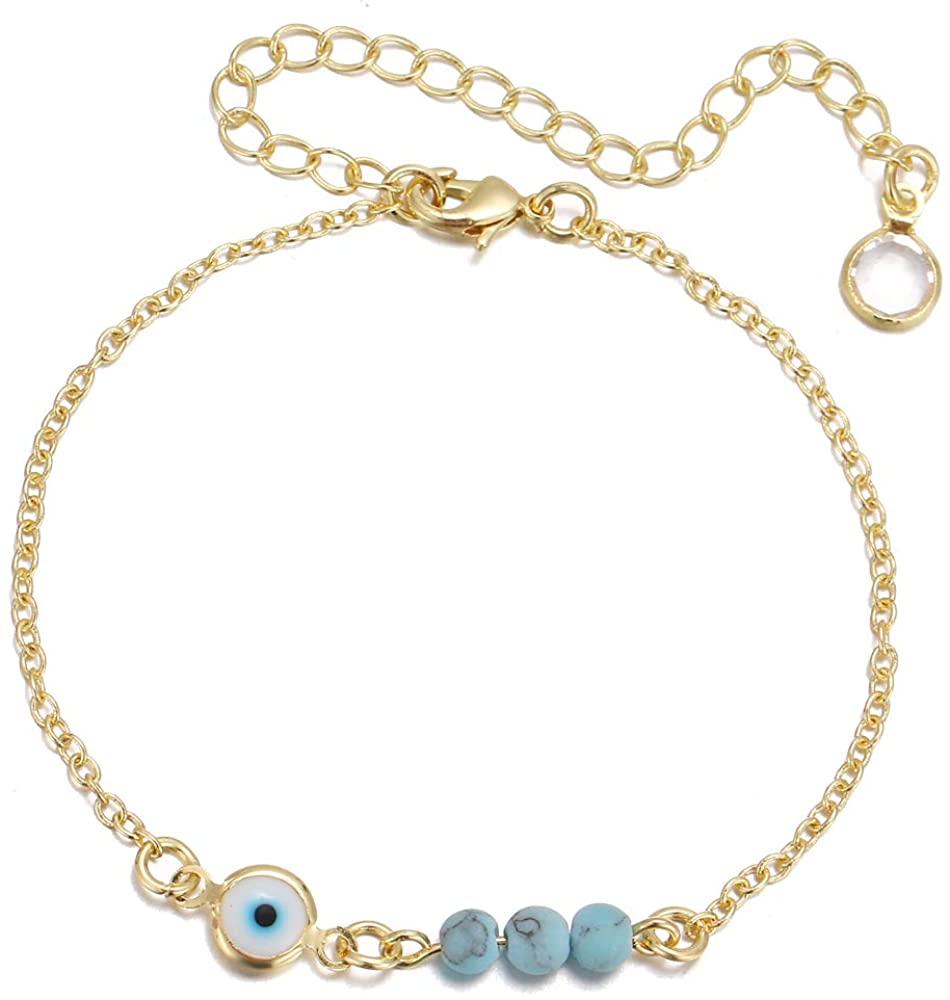 choice of all Daity Evil Eye Bracelets for Women,14K Gold Evil Eye Chain Ankle Bracelet for Girls