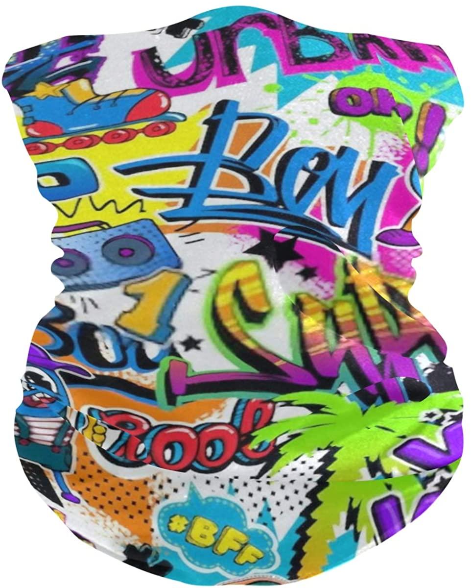 Unisex Balaclava Face Covers Scarf Novelty Bandana Masks Headband Comics Graffiti Pattern Dust Wind Sun Magic Headwear For Men Women Boys Girls