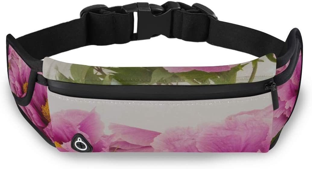 Peony Pentecost Nature Spring Blossom Bloom Waist Pack For Men Fashion Bags For Girls Travel Bag Toiletries With Adjustable Strap For Workout Traveling Running