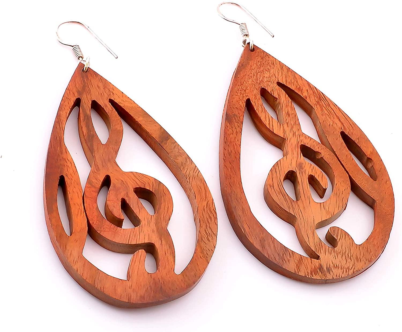 Mind Blowing Tibetan Antique Brown Wood Carved Dangle Wooden Earrings 4