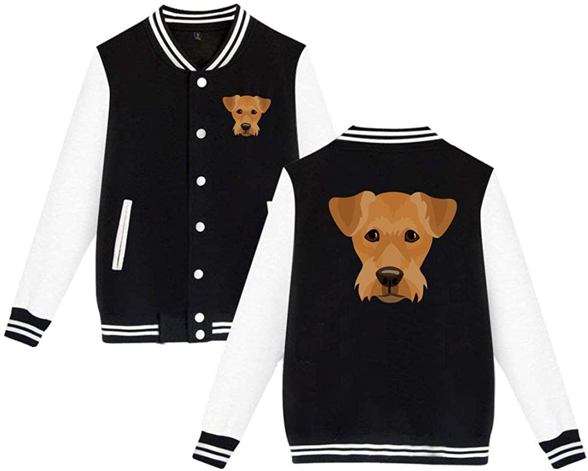 MOCSTONE Unisex Varsity Jacket Yorkshire Dog Face Baseball Letterman Jackets Sport Coats