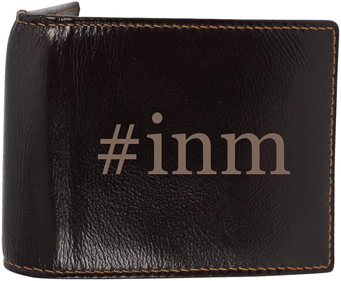 #inm - Genuine Engraved Hashtag Soft Cowhide Bifold Leather Wallet